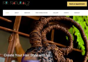 Screenshot Mr. Naturalz Salon website